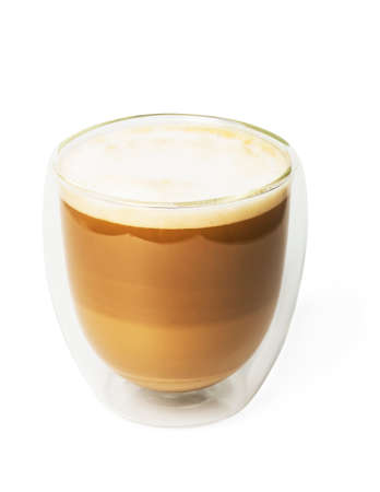 Cappuccino in a double walled glass isolated on white background