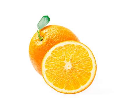 Orange fruit with orange slices and leaves isolated on white background. Standard-Bild