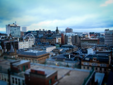 tilting: Glasgow city on a winter day in tilt shift effect