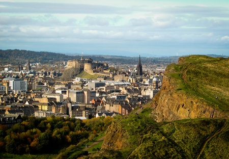 View of Edinburgh from a hill on a sunny autumn day Stock Photo - 11867422