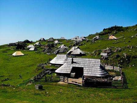 Sheppherd Village in Velika Planina, Julian Alps in Slovenia. Stock Photo