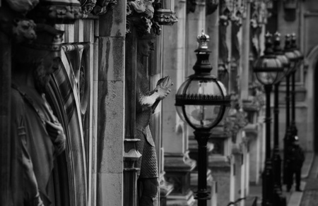 Statues on the Houses of Parliament building in London close-up