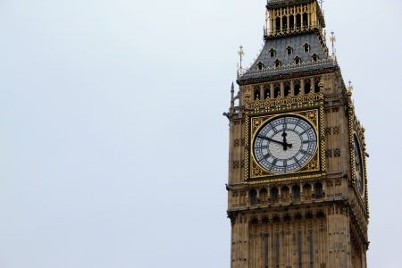 Big Ben - top of the tower with a clock with a sky on the background Stock Photo - 16539586