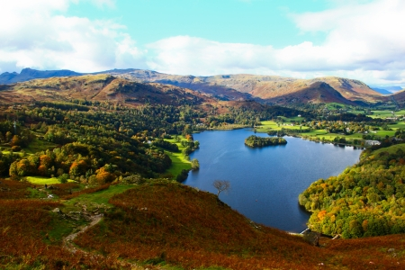 An aerial view of Grasmere from the slopes of Loughrigg fell Stock Photo