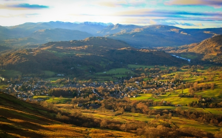Fells of the Lake District with an aerial view of Ambleside