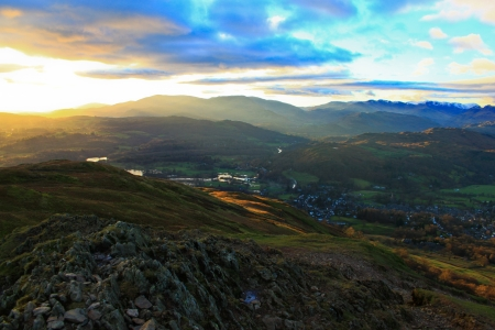 Fells of the Lake District with a view of Ambleside Stock Photo - 18445966