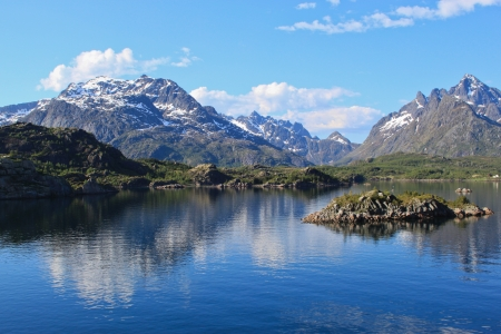 Picturesque Lofoten - Mountain peaks of scenic Lofoten islands in Norway on sunny summer day
