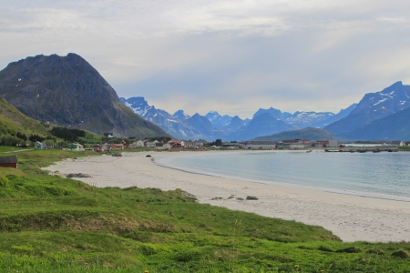 Picturesque Lofoten - Mountain peaks of scenic Lofoten islands in Norway on sunny summer day