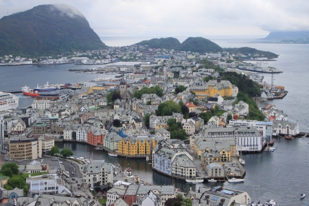 A view from the mountain Aksla to Alesund  Norway