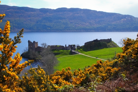 Urquhart Castle - Urquhart castle on Loch Ness in Scotland Stock Photo
