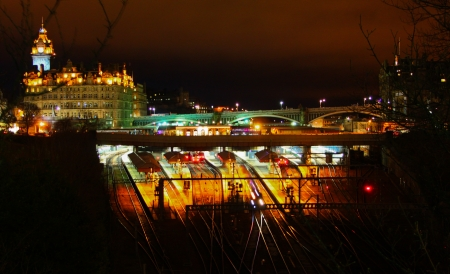 Edinburgh Waverley Train station at night Stock Photo - 23271459
