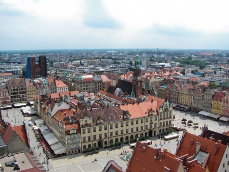 View of Wroclaw town hall and old town market square