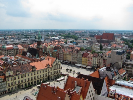 View of Wroclaw town hall and old town market square  Editorial