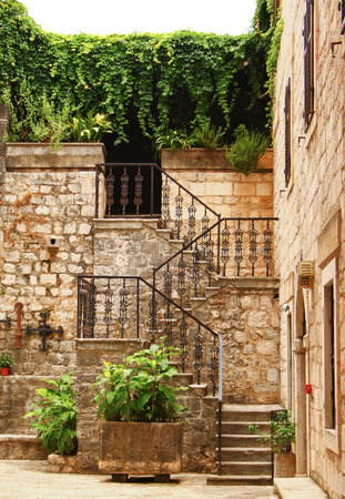 Stairs in the old town  Kotor  Montenegro Stock Photo