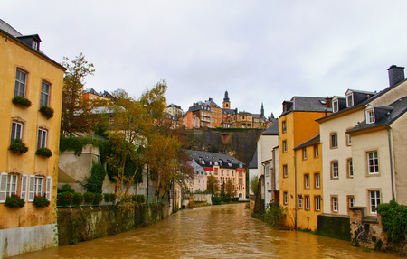 Luxembourg Old City  Grund Quarter And Alzette River Stock Photo