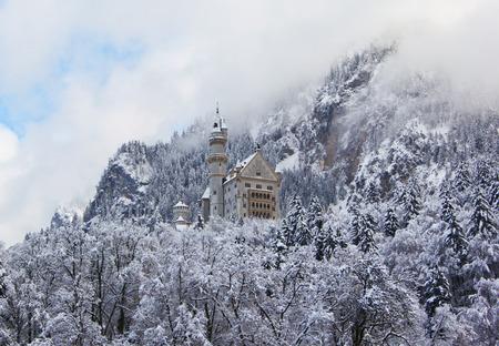 Bavarian Neuschwanstein Castle at snowy winter