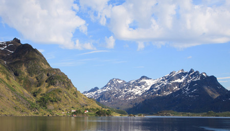 Mountains of the Lofoten Island in Northern Norway Stock Photo