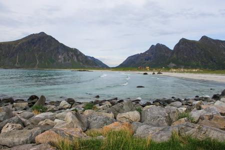 berm: Beach on Lofoten islands in Norway at day