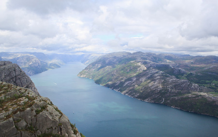 Norway Rogaland county  Beautiful view of Lysefjorden from the trail to Preikestolen Stock Photo