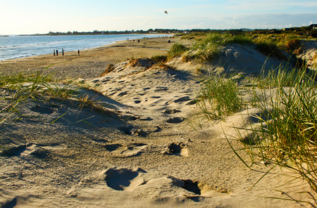 Footprints on a sandy beach near Stavanger airport, Norway