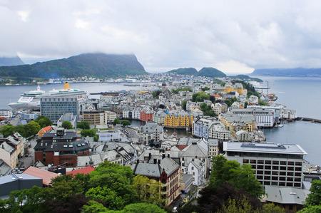 alesund: View of Alesund From The Mountain Aksla, Norway Stock Photo
