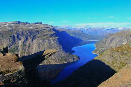 Trolltunga Trolls tongue rock above lake Ringedalsvatnet Norway