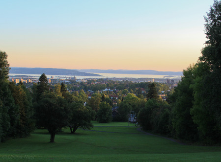 View of Oslo and Oslofjord at sunset