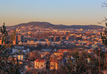 View on the evening Oslo from the Ekeberg hill