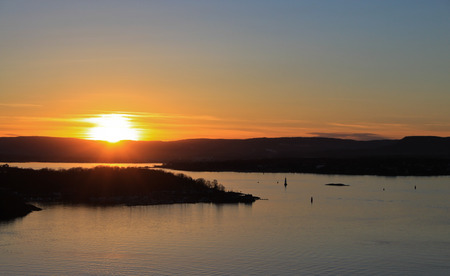View on the evening Oslofjord from the Ekeberg hill
