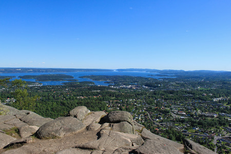 governmental: View of Oslo and Oslofjord on a sunny summer day Stock Photo