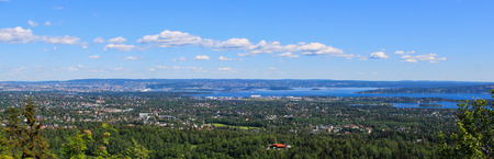 View of Oslo and Oslofjord on a sunny summer day Stock Photo