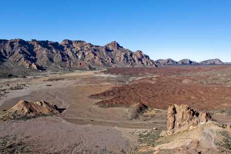 A view from volcano Mount Teide, in Teide National Park, in Tenerife, Canary, Spain