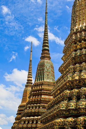 Classical Thai architecture in Wat Pho Bangkok Thailand. Wat Pho is a Buddhist temple complex with Reclining Buddha. Stock Photo