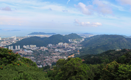 View on skyline of Georgetown, Malaysia from Penang Hill, a popular destination for tourists reached by a cog railway Stock Photo