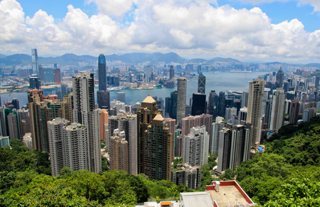 View of Hong Kong skyline from Victoria Peak Stock Photo