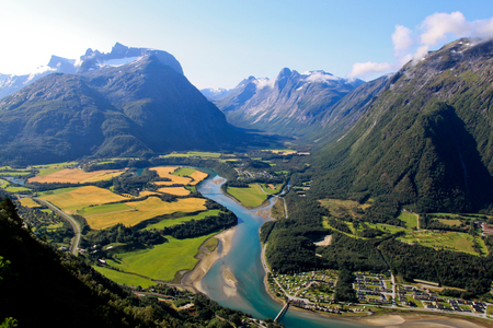 Bird view of fjord in Norway.