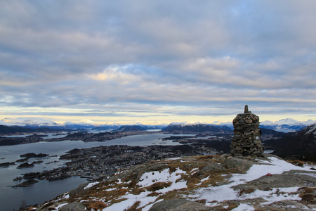 Alesund mountains aerial panoramic view from Sula in Norway