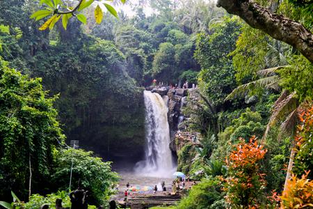 Overlook to amazing Tegenungan Waterfall. Ubud in Bali, Indonesia. Stock Photo