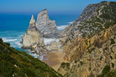 Ursa Beach - Viewpoint at the coast of Portugal near Cabo da Roca, Cape Roca. Sintra Stock Photo
