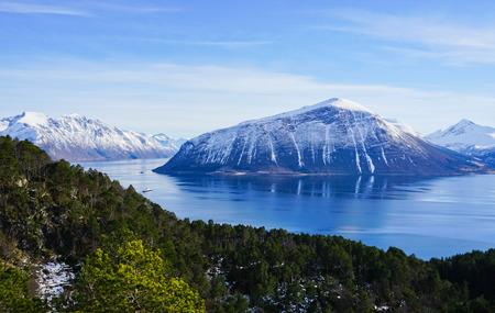 Dramatic landscape at the Hjorundfjord, Norway Stock Photo