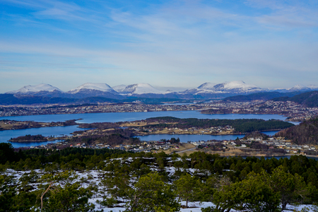 Alesund mountains aerial panoramic view from Solavågen in Norway Stock Photo