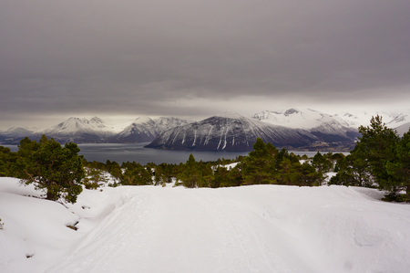 Beautiful mountain landscape with the Norwegian fjords in winter Stock Photo
