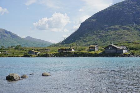 Cabins near Beseggen mountain ridge in Jotunheimen, Norway