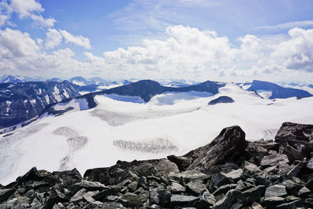View from Galdhøpiggen, highest mountain in Scandinavia. Jotunheimen national park in Norway.