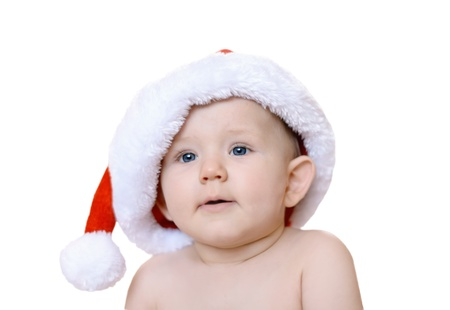Christmas baby boy in red cap