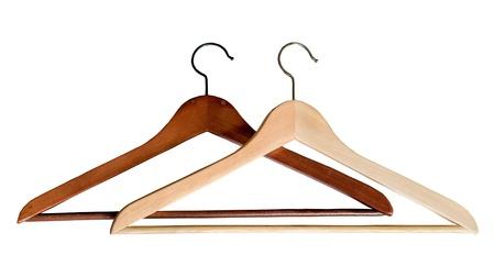 two wooden hangers light and dark