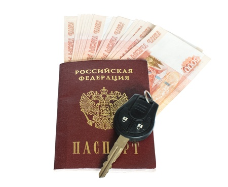 Russian passport, car keys and money. Isolated on white background.