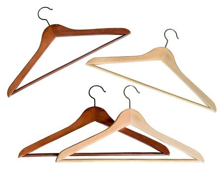 wooden coat hanger Stock Photo