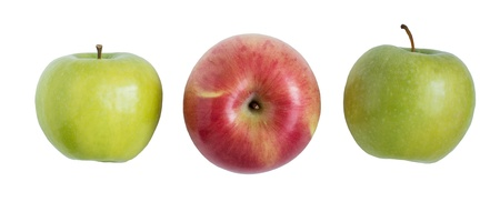 three apple in white background. Isolation clip patch Stock Photo