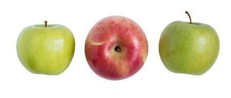 tres manzanas en el fondo blanco. Patch clip de aislamiento Foto de archivo